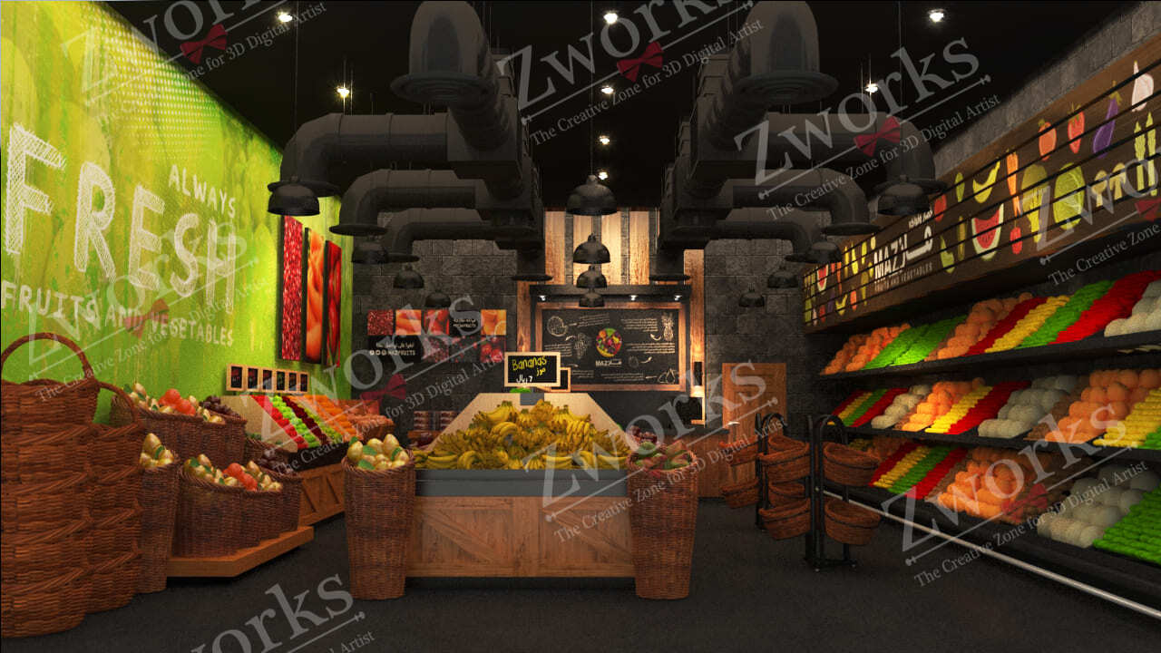 Vegetables and fruits store interior design